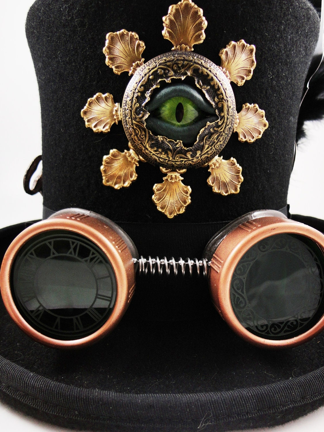 Steampunk Hat- Black Top Hat in Wool Felt Size Large -The Dr Brassy Hat with Sightmares Eye by Dr Brassy Steampunk - DrBrassysSteampunk