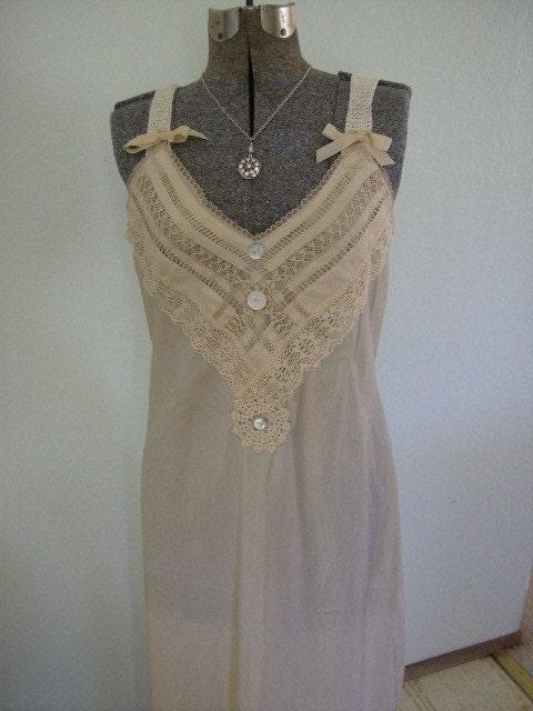 Upcycled Vintage Wedding Slip Dress Slipdress Bridesmaid Prom Edwardian