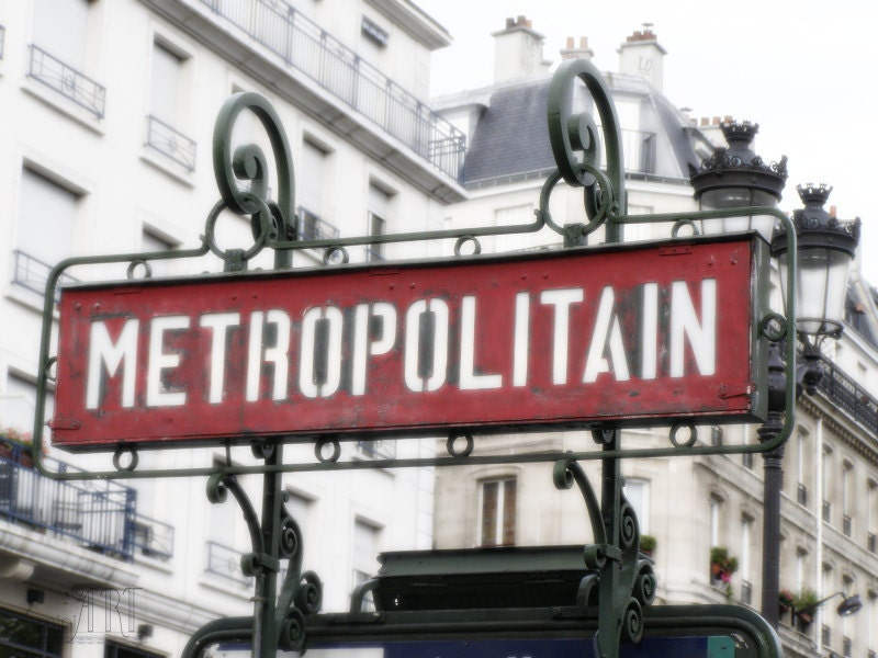 Vintage french signboard in Paris, fine art photography, art deco, la metro, metropolitain, 5x7 (13x18) - AnnaKiperPhoto