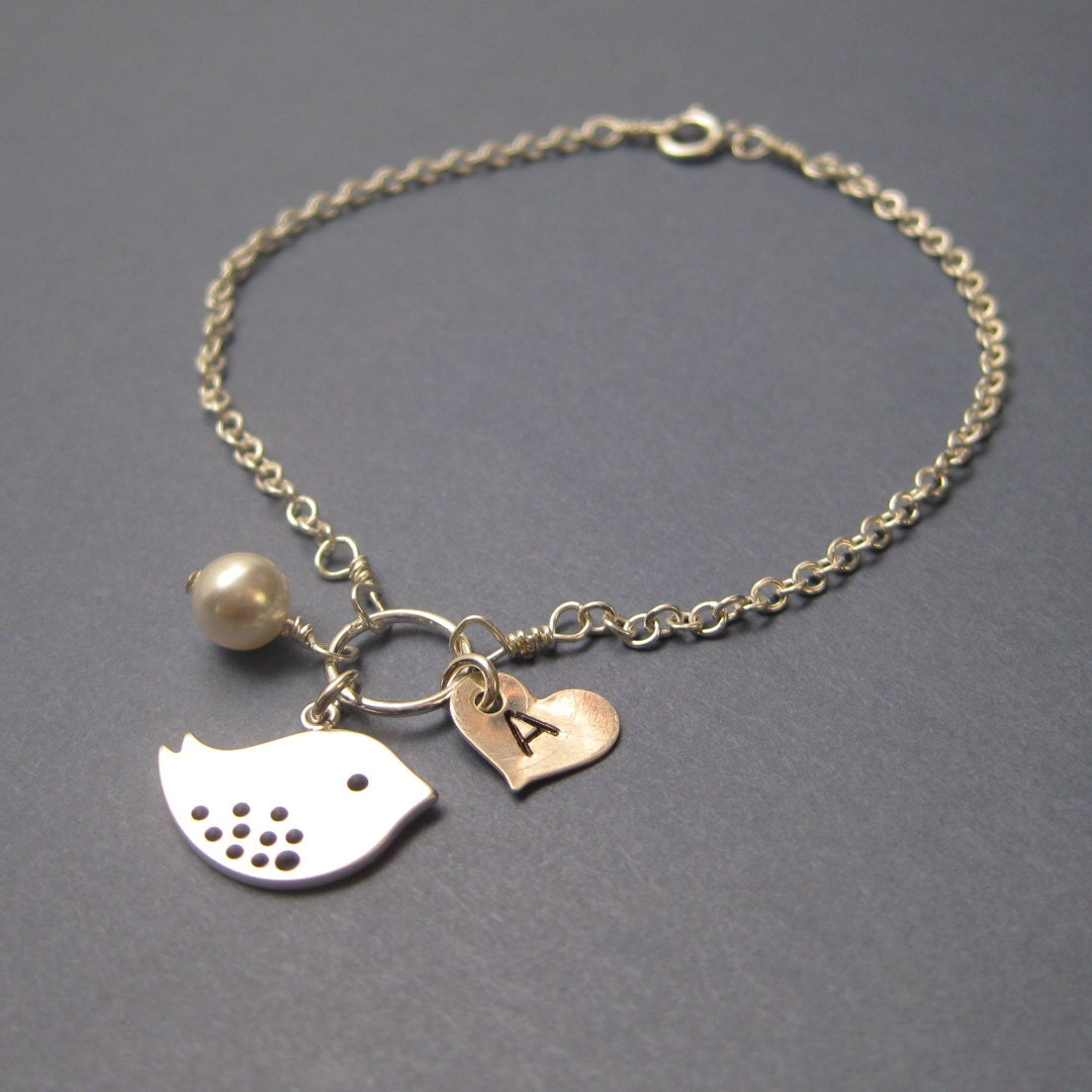 Sterling Silver Spotted Sparrow Pearl and initialed heart bracelet