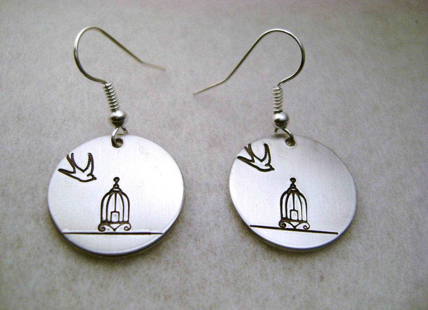 Metal Stamped Dangle Earring - Birdcage and Bird