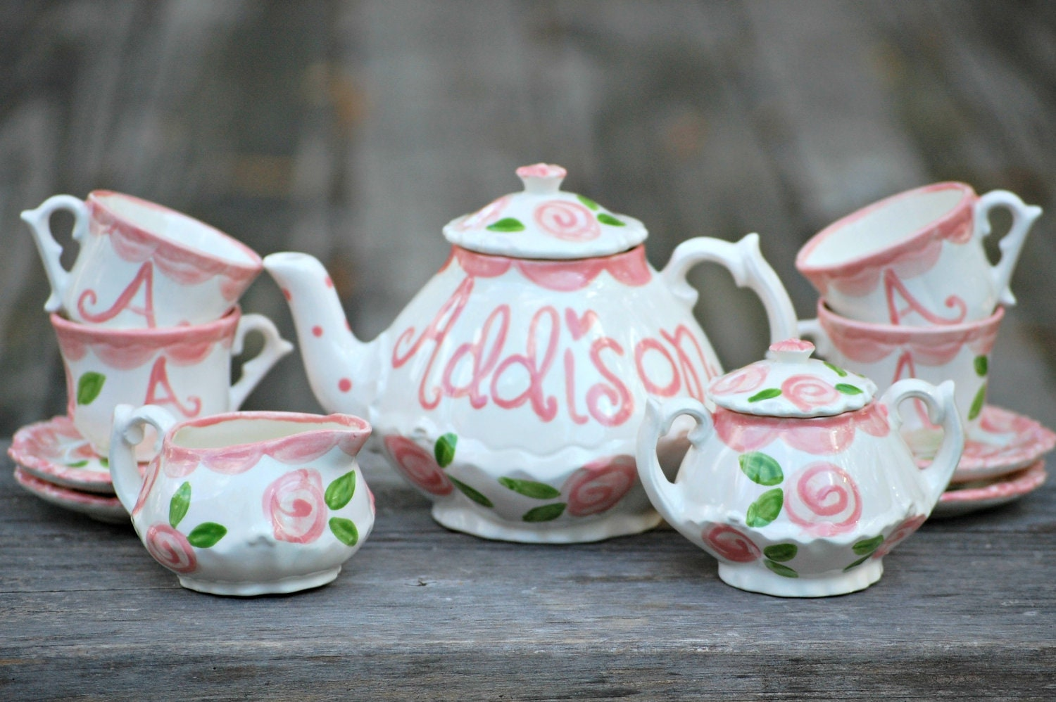 little girls tea party china tea set handpainted by hollyslay. Black Bedroom Furniture Sets. Home Design Ideas