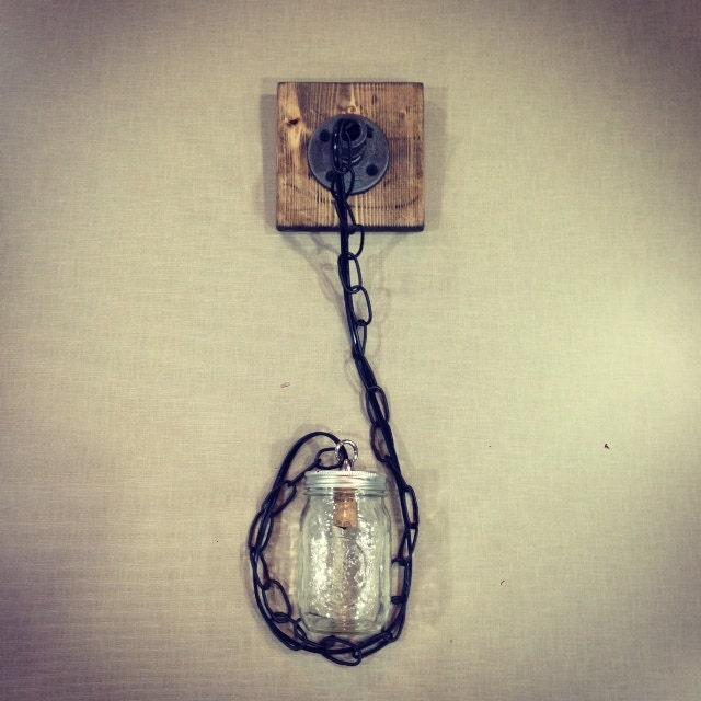 Rustic Industrial Lighting Chandelier Mason Jar Chandelier: Industrial/Rustic Wood Handmade 1 Mason Jar Pendant By Lulight