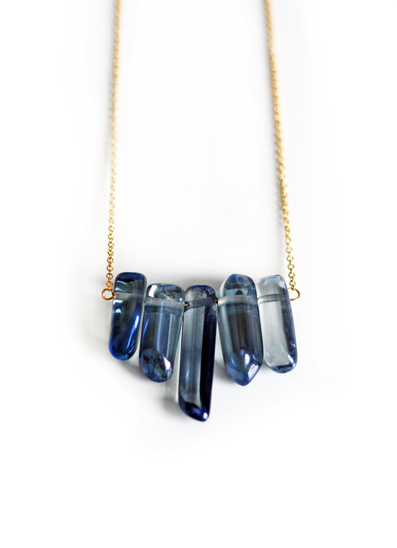 MYSTIC blue quartz row necklace - shopkei