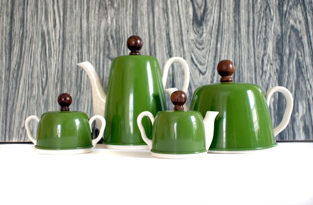 Mid Century Tea & Coffee Set with Green Insulators - RankandFileVintage