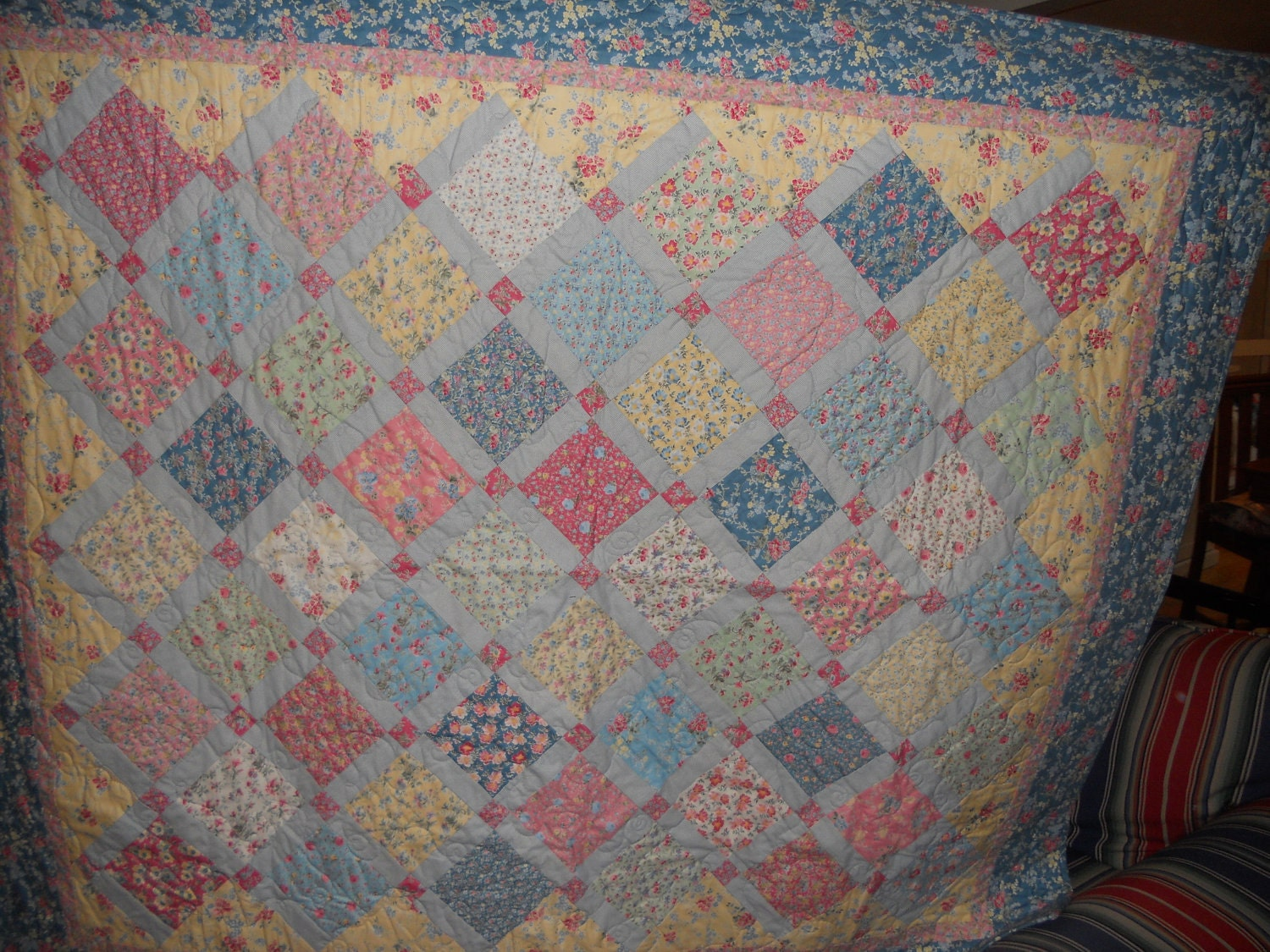 Pastel Floral Patchwork Lap Or Throw Quilt By