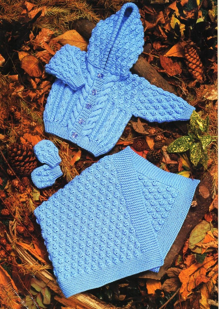 baby aran hooded jacket blanket mitts knitting pattern pdf cable cardigan with hood cot cover 1624 aran worsted 10ply pdf instant download