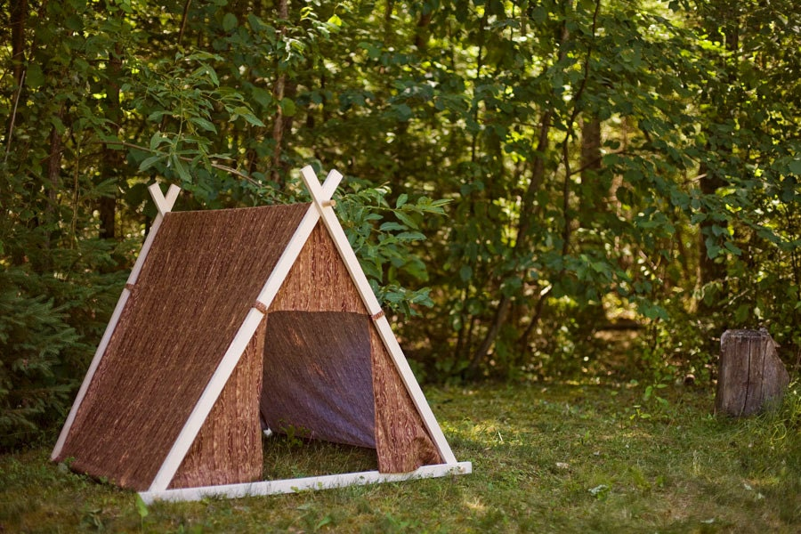 Kids A-Frame Teepee Play Tent cover in Woodgrain by Teepee and Tent - TeepeeandTent
