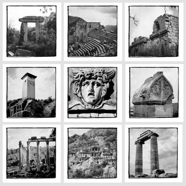 Черно-белая коллекция Турции - 8 х 8 - Турция стока - художественной фотографией - Стена Декор - Археология - Средиземное море Фото