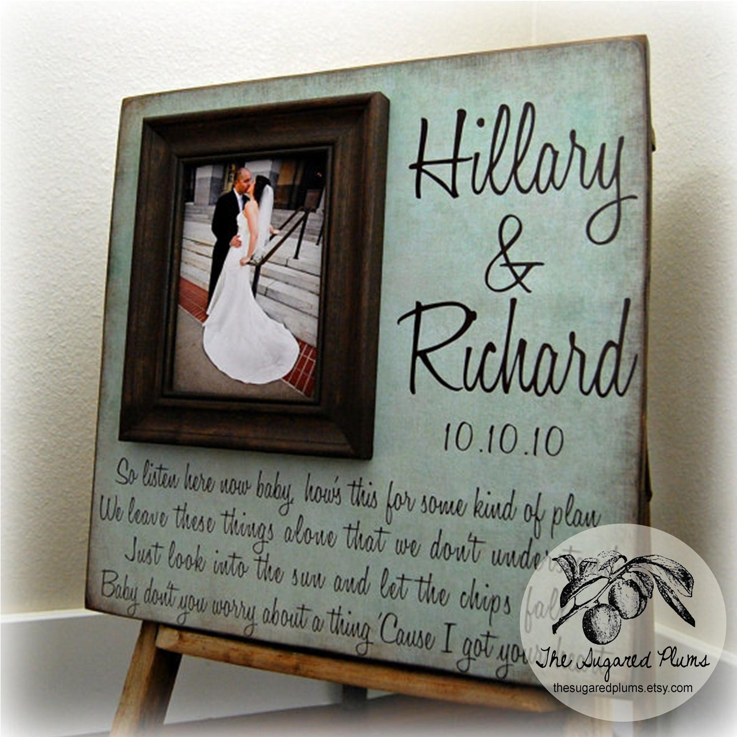 Personalized Picture Frame Custom Wedding Gift 16x16 Anniversary Love Father Mother Parents Quote Song Vows Guest Book