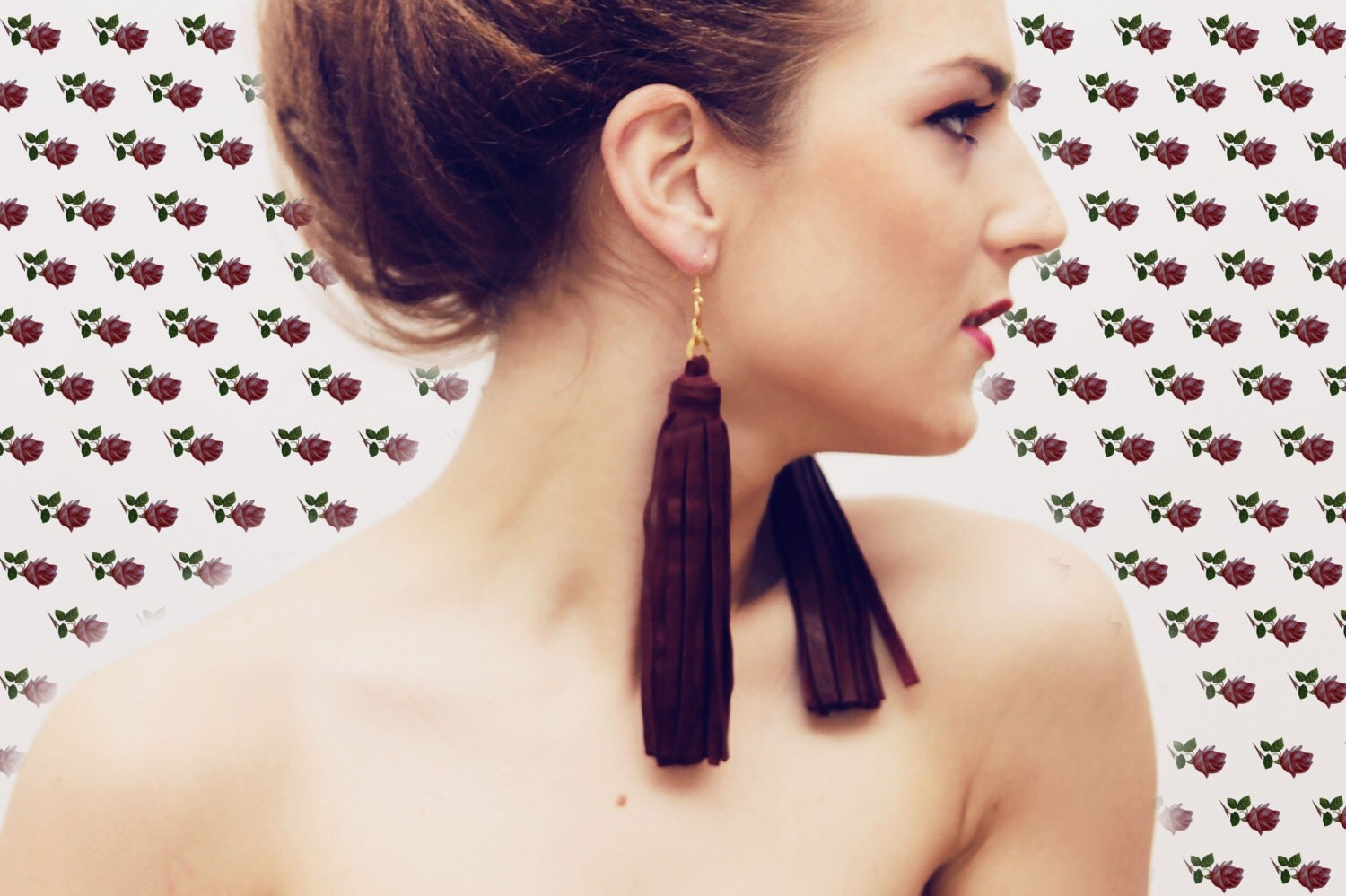 OXBLOOD/ long leather tassel earrings - DDSLLGirlsStore
