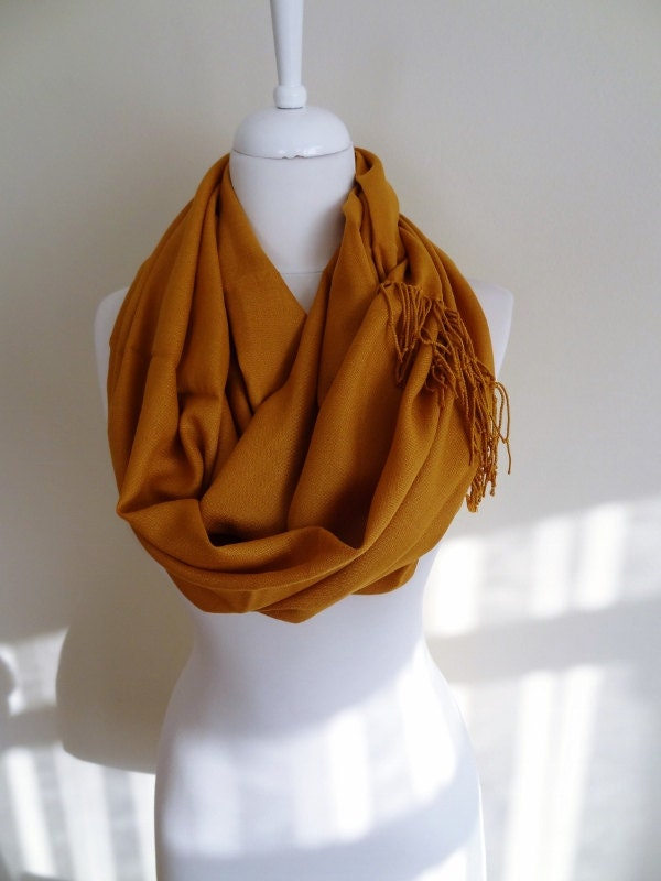 mustard color pashmina infinity scarf fringe scarf by