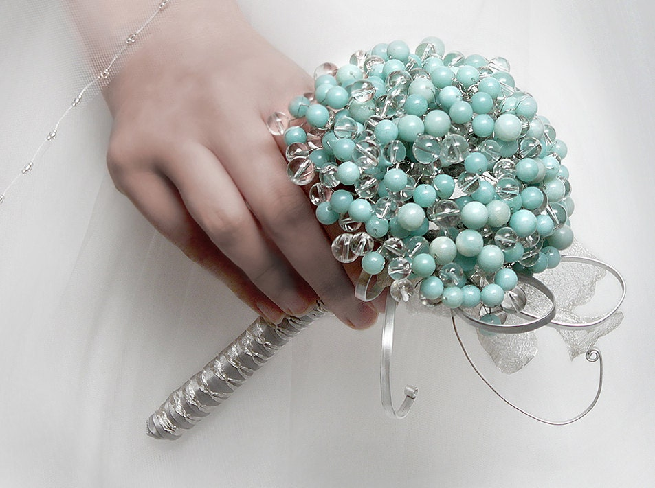 Wedding Flowers - Gemstone Bridal Bouquet of Amazonite and Quartz Crystals - Wedding Bouquets - Fabulous Brooch Bouquet Alternative - BridalBouquetsbyKy