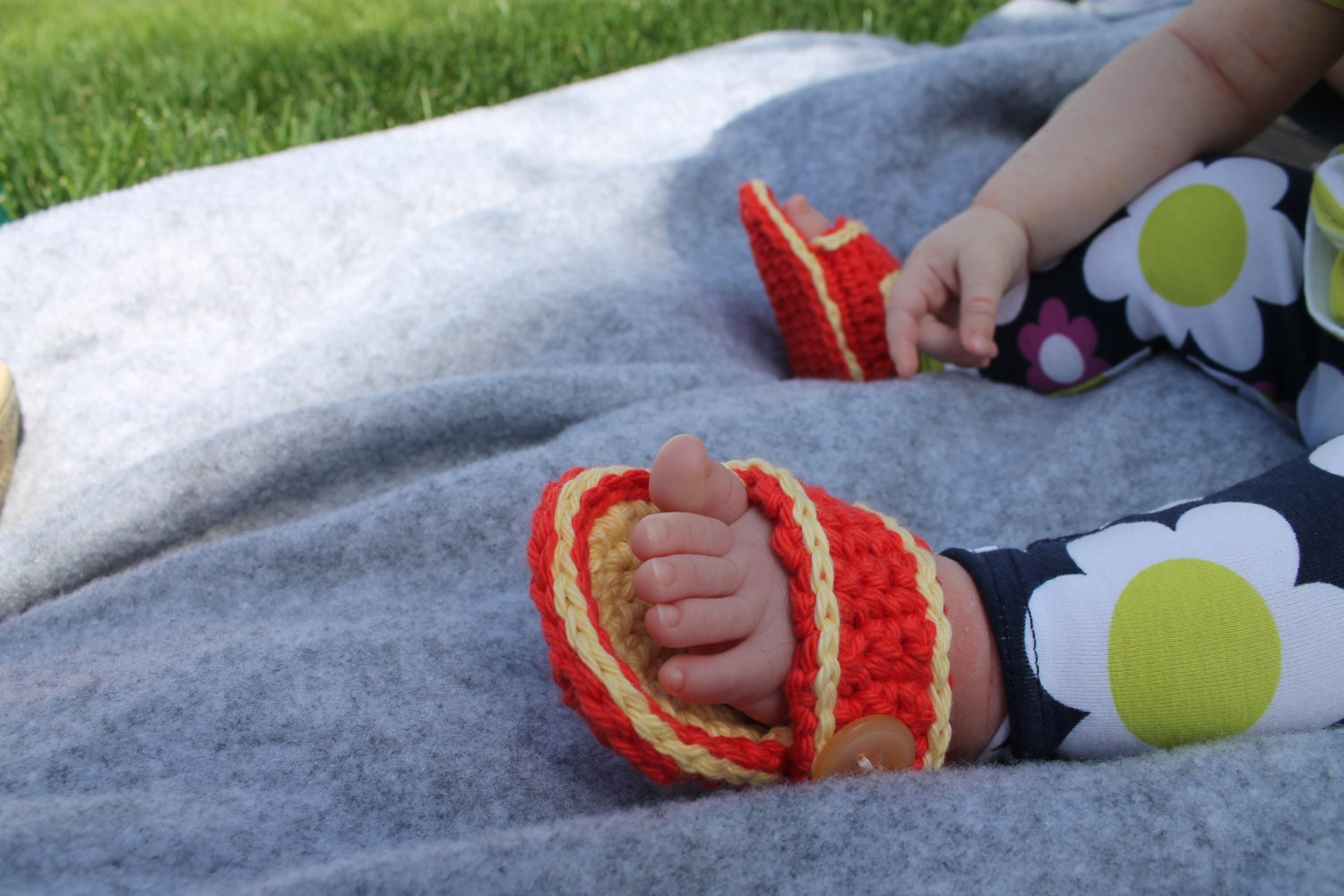 Baby Cotton Strap Sandals Summer Fashion Baby Photo Props Baby Shower Gift - sunshineknitandsew