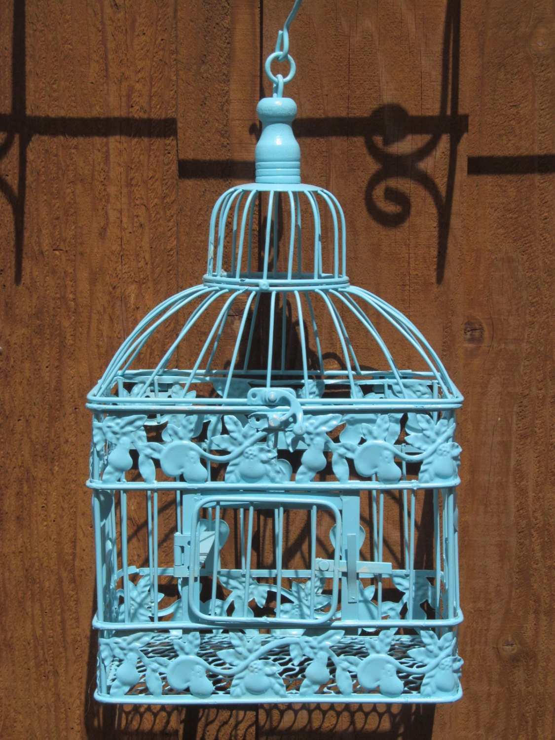 Small blue birdcage wedding card holder by for Petite cage a oiseaux decorative