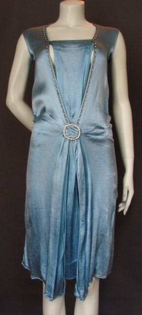Vintage 1920s20s Silk Buckle DRESS Antique Art Deco Flapper