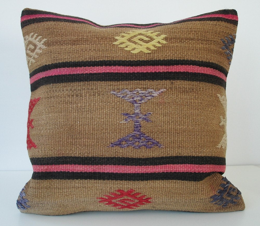 Sukan / Handwoven Wool Vintage Tribal Turkish Kilim Pillow Cover - 18x18 inch