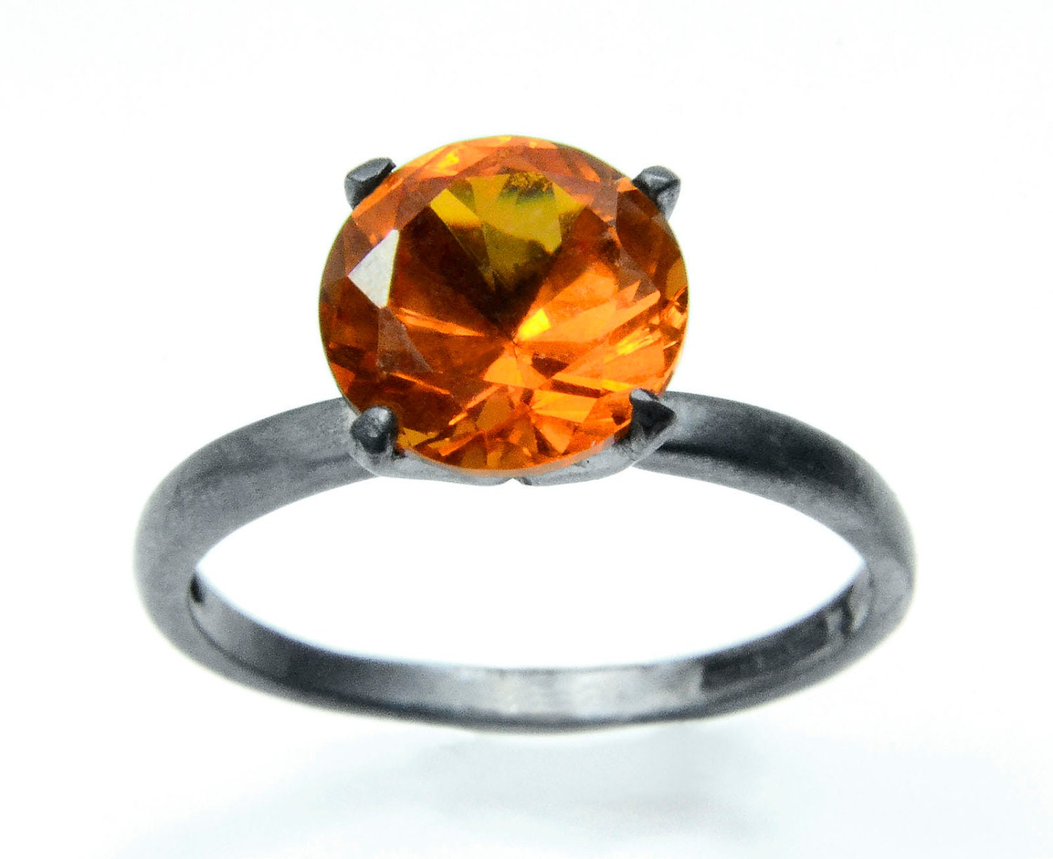 Orange Sapphire Ring in Sterling Silver, Blackened Silver Cocktail Ring with Padparadsha Sapphire - abishessentials