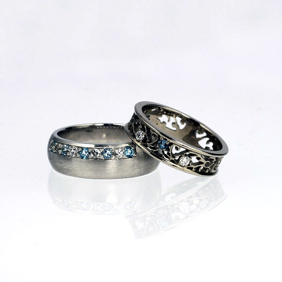 Aquamarine Wedding Ring Set White Gold By TorkkeliJewellery
