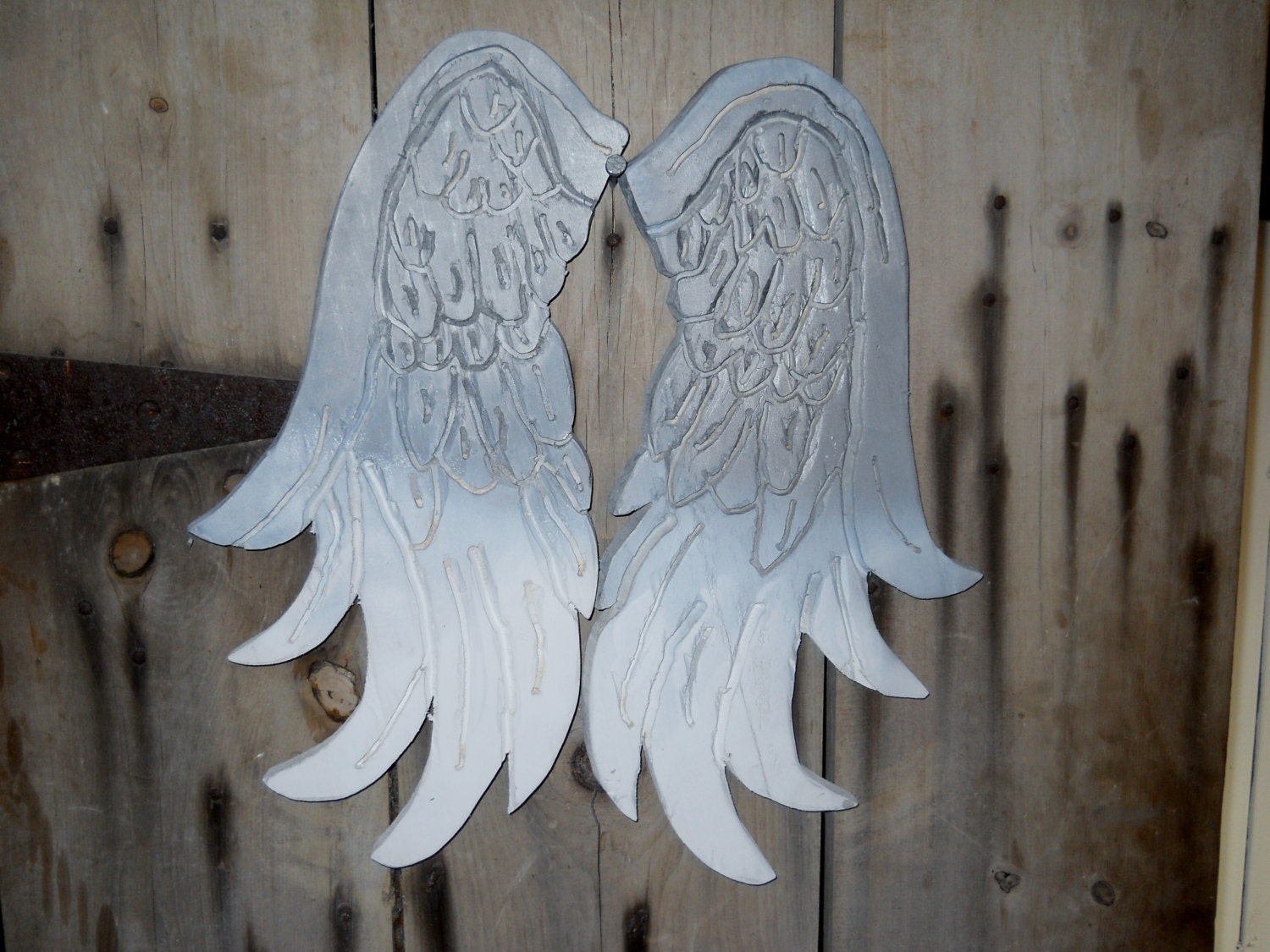 angel wings ombre white and grey hand carved wood by tinkermelz. Black Bedroom Furniture Sets. Home Design Ideas
