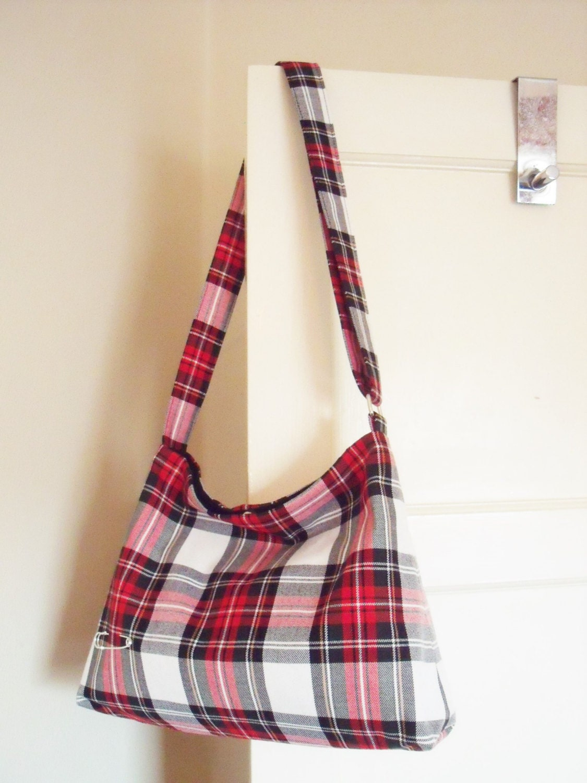 Stewart Dress Tartan Messenger  Slouchy Bag Cross body Shoulder Bag  Plaid Purse  Handbag  kilt pin Handmade in Scotland gift for her