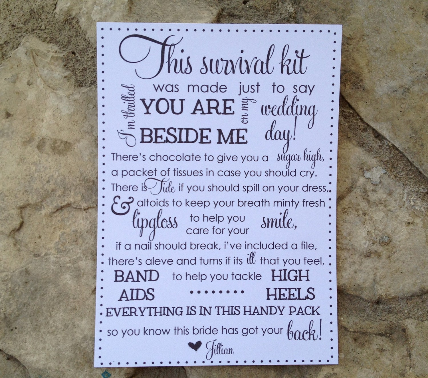 5x7 bridesmaid survival kit cards by michellesasser on Etsy