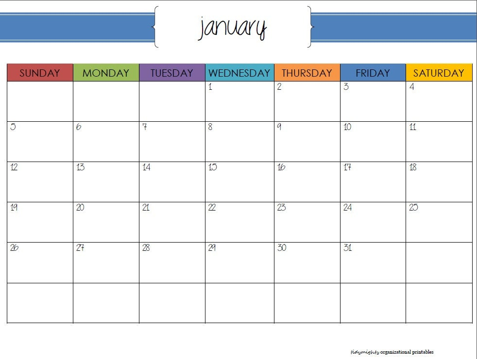 Monthly Organizing Calendar : Monthly calendar organizer printable pdf by tidymighty