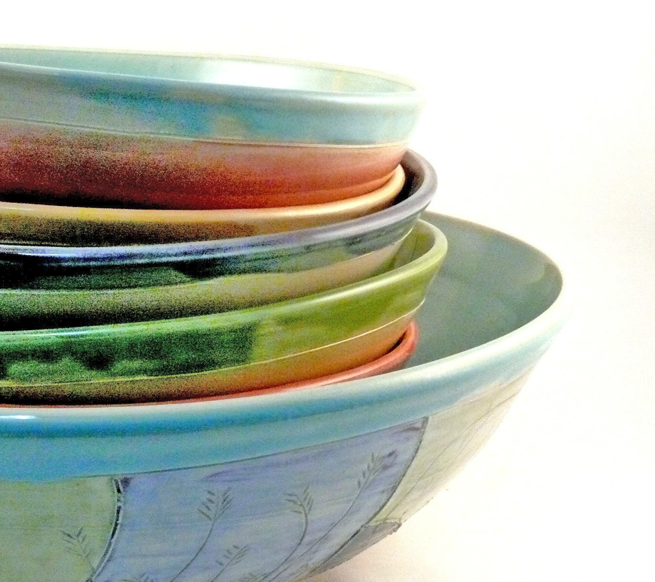 Handmade Art Bowls Pasta Bowl Set with six pasta dishes and one serving bowl IN STOCK - BlueSkyPotteryCO