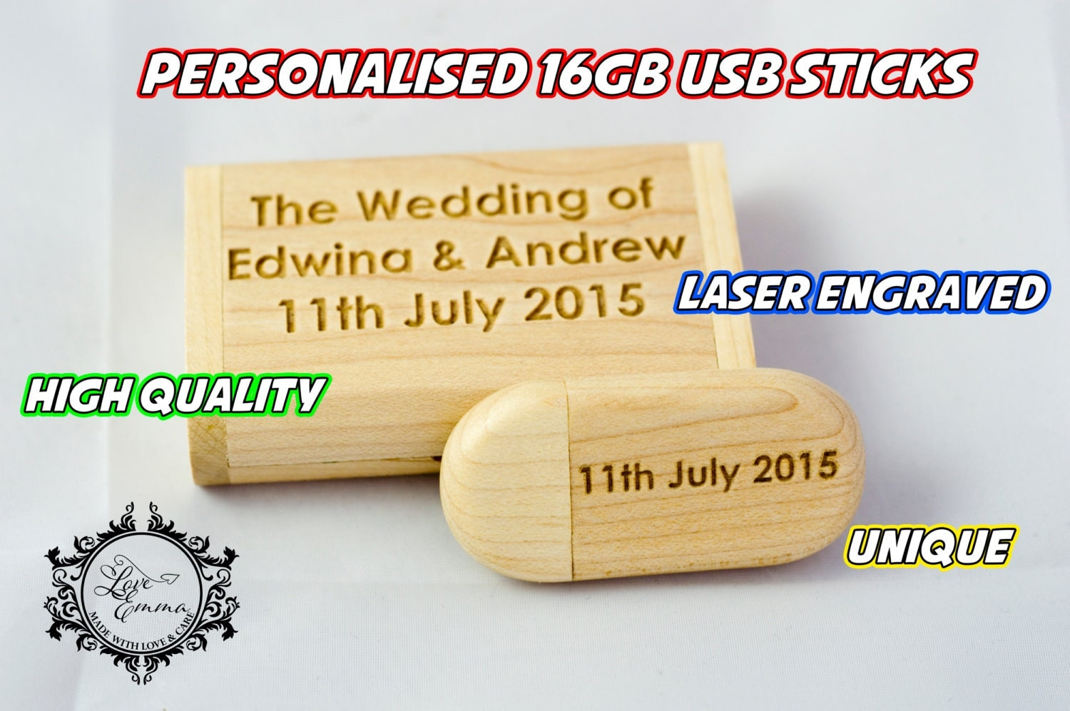 Personalised 16GB Wooden USB with Wooden Box Wedding Photography Gift Wedding Memory 00069