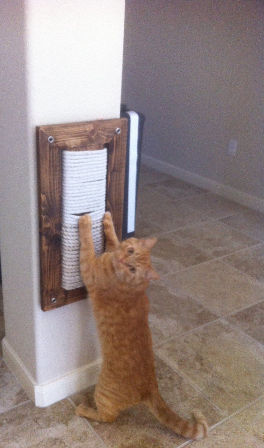 Items similar to wall mount scratching post for cats on etsy - Wall mounted cat scratcher ...