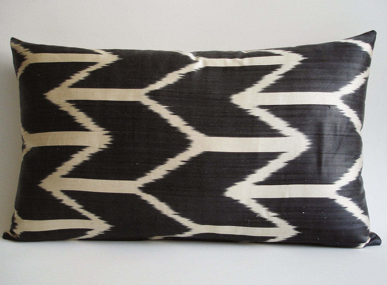 Sukan / Hand Woven Silk ikat Pillow Cover Gray- lumbar Ikat Pillow cover - decorative pillow covers - throw pillows - accent pillow