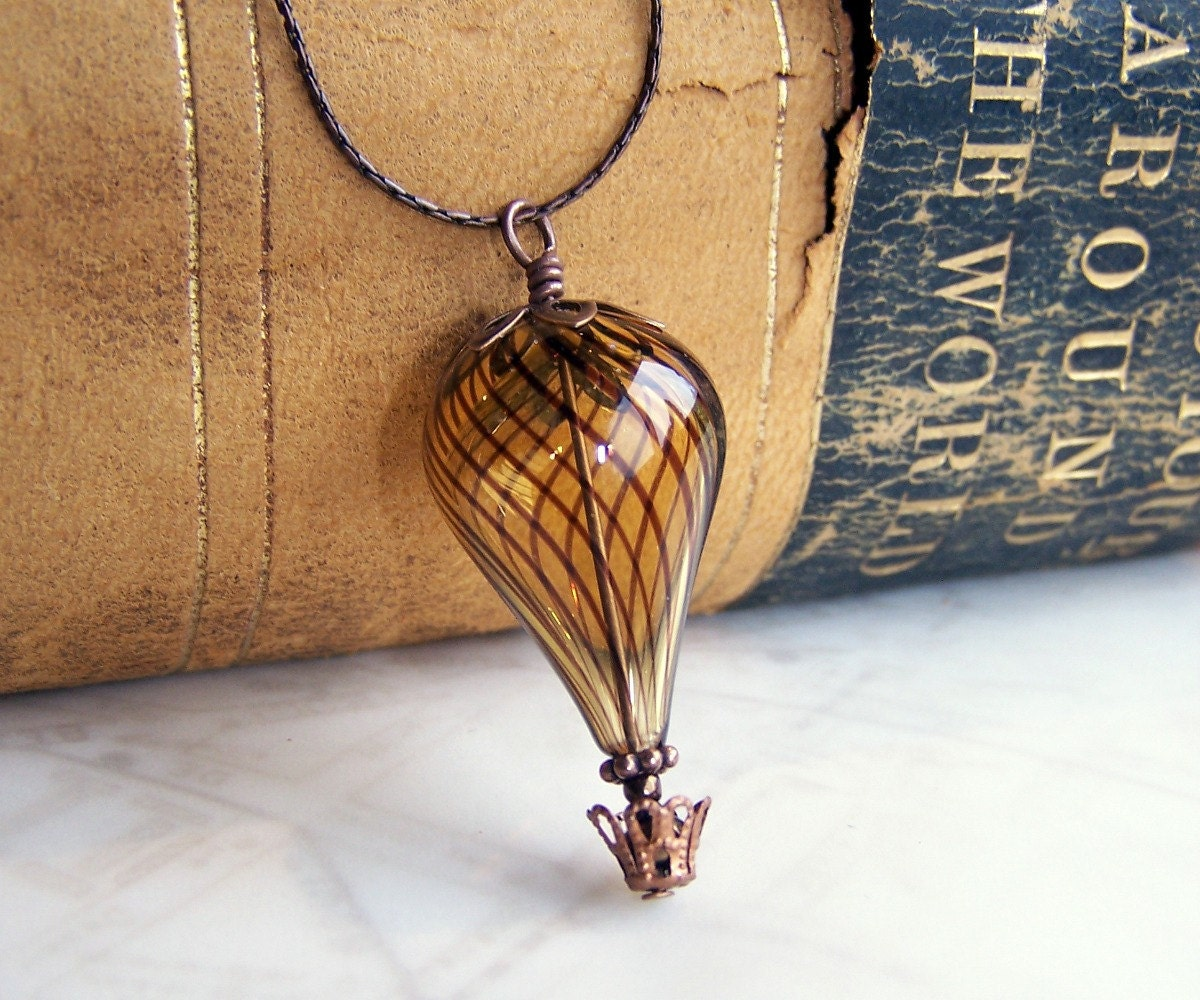 Hot Air Balloon Necklace - A Steampunk balloon in amber blown glass and copper - Hot Air Balloon Jewelry - Steampunk Necklace - ElainaLouiseStudios