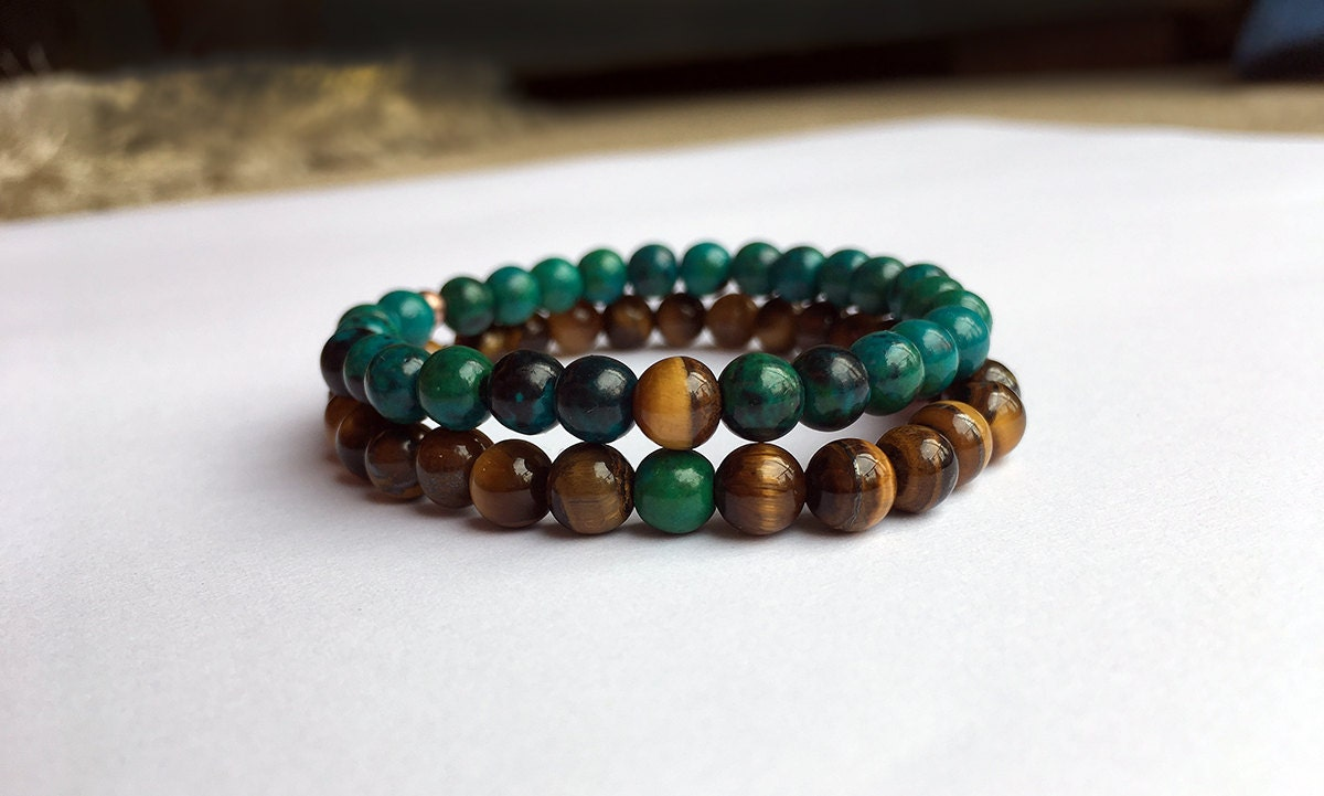 Couples Matching Bracelet  Hematite Lapis Lazuli Chrysocolla Rose Quartz Tiger Eye Beads You complete me his and hers Valentines