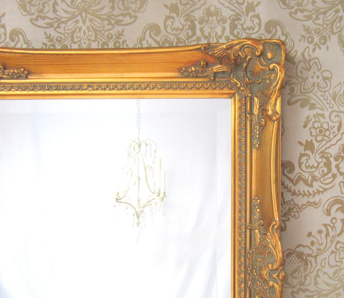 Neoclassic framed mirror 45x24 39 large teal blue by for Baroque bathroom mirror