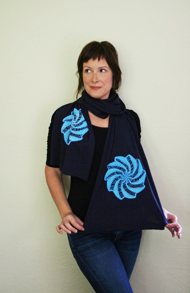 Pinwheel Doily. Jersey Scarf. Hand-pulled Screen Print.