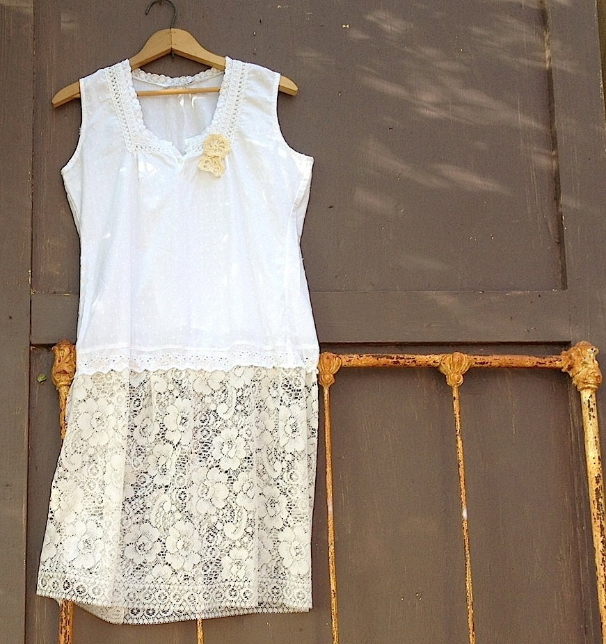 boho white eyelet dotted swiss upcycled eco lace tunic easter spring summer bride reception party dress - kateblossom