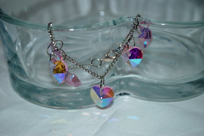 Swavorski Crystal Pink Heart Bead Charm Bracelet