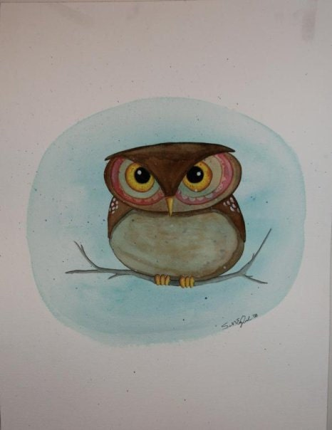 whimsical owl watercolor painting 16x16 - ArtbySarahEngland