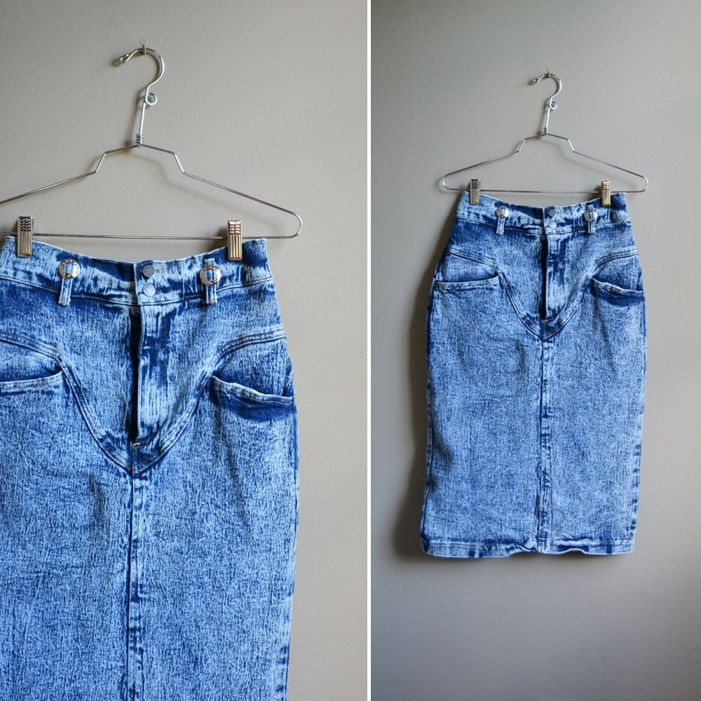 vintage 80s acid wash high waisted denim skirt by