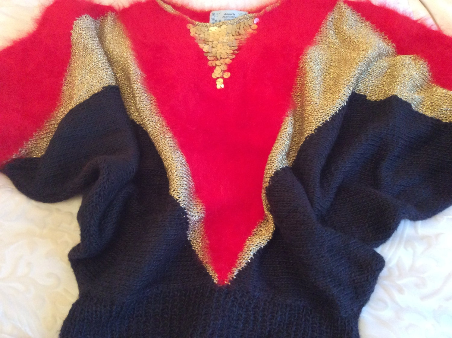 Red 100 angora hand knit sweater with black silk panelsgold lurex yarn  gold sequins