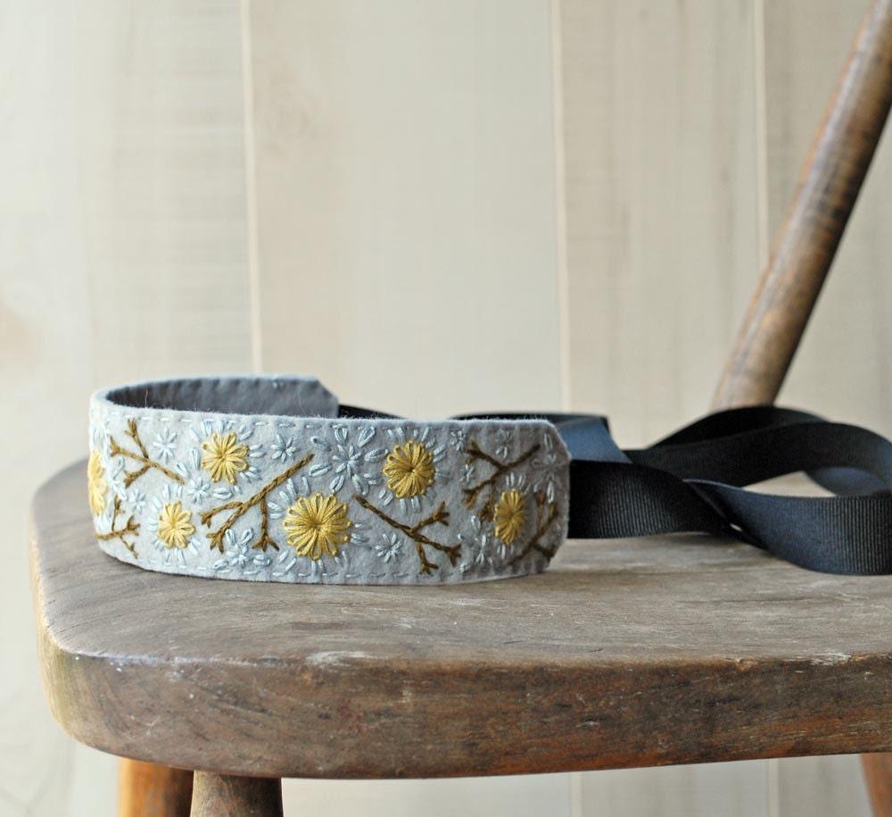 Country Fields Headband - Grey, Mustard Yellow - lovemaude