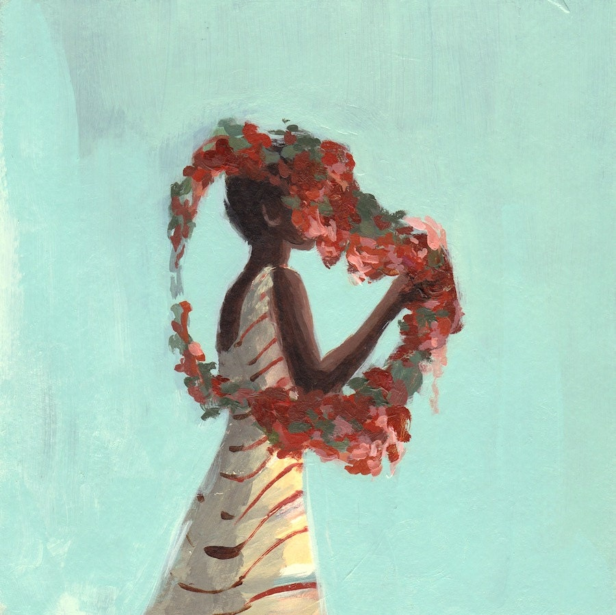 Rose Queen . extra large giclee art print poster of acrylic painting