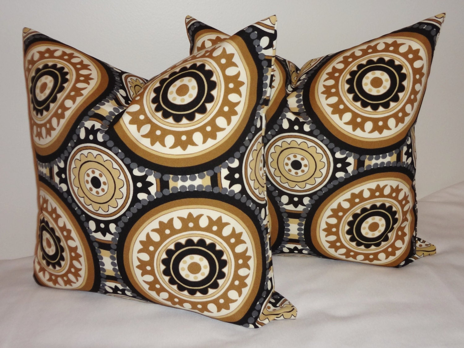 Two OUTDOOR Black Tan Grey Suzani Pillow Cushion By HomeLiving