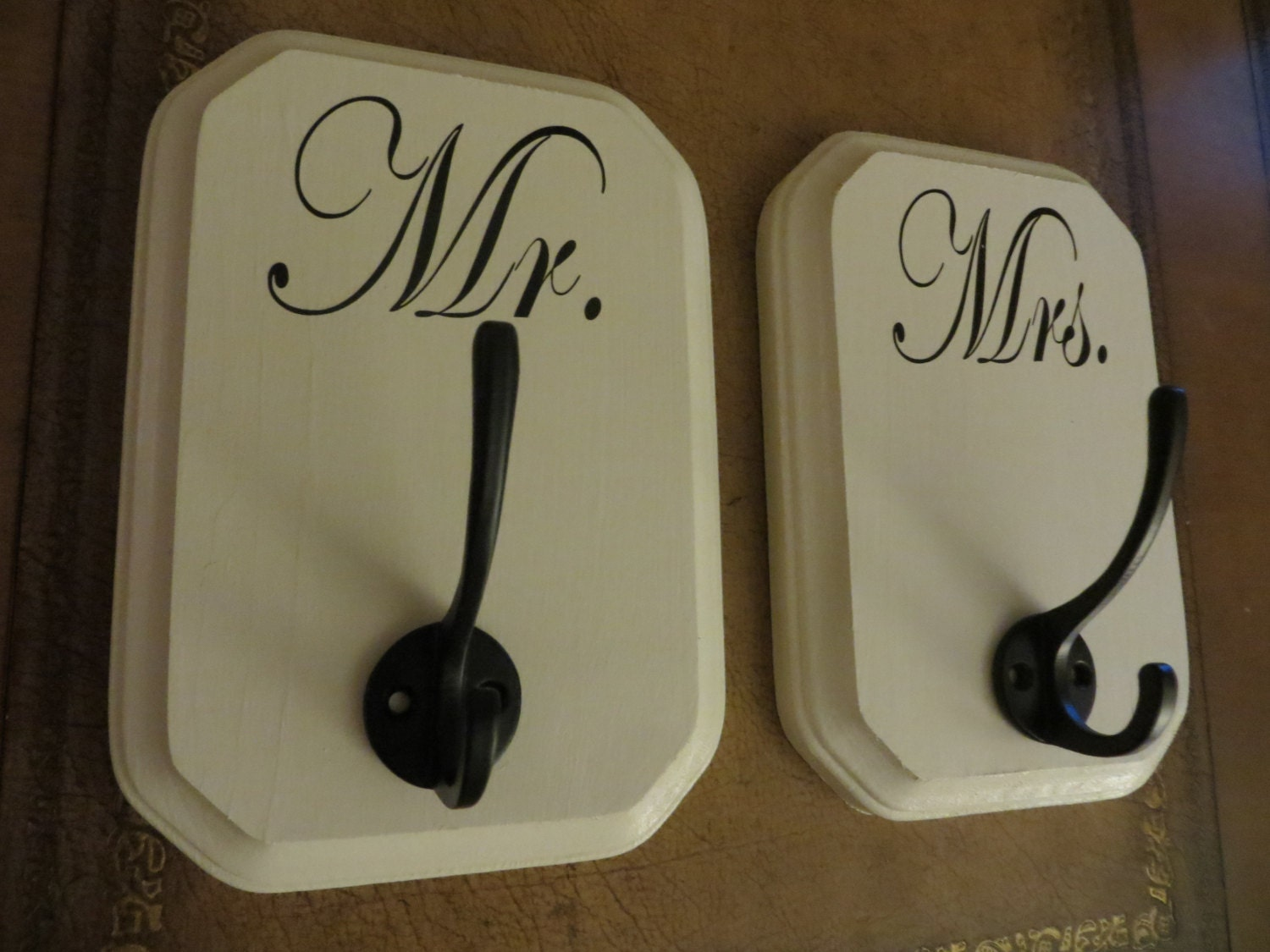 Mr and mrs or his and hers bath towel hooks by for Mr and mrs spa