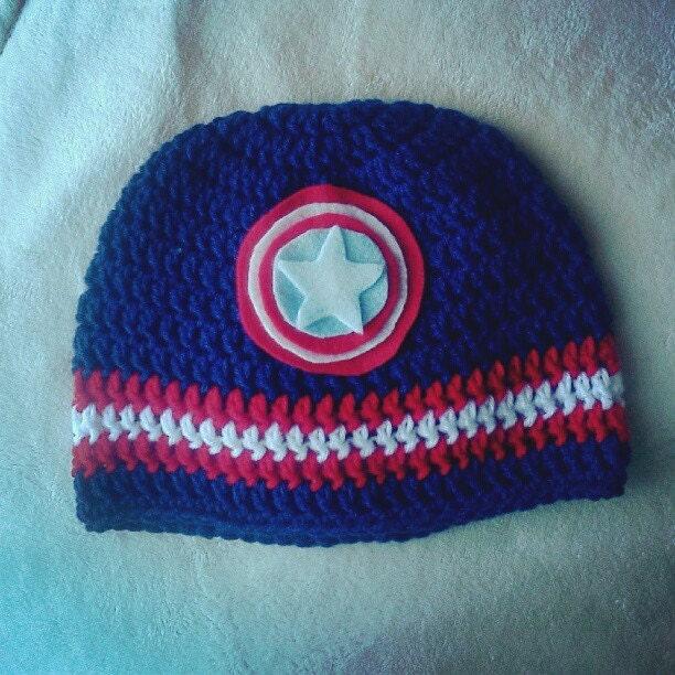 Items similar to Crochet Captain America Beanie Hat on Etsy