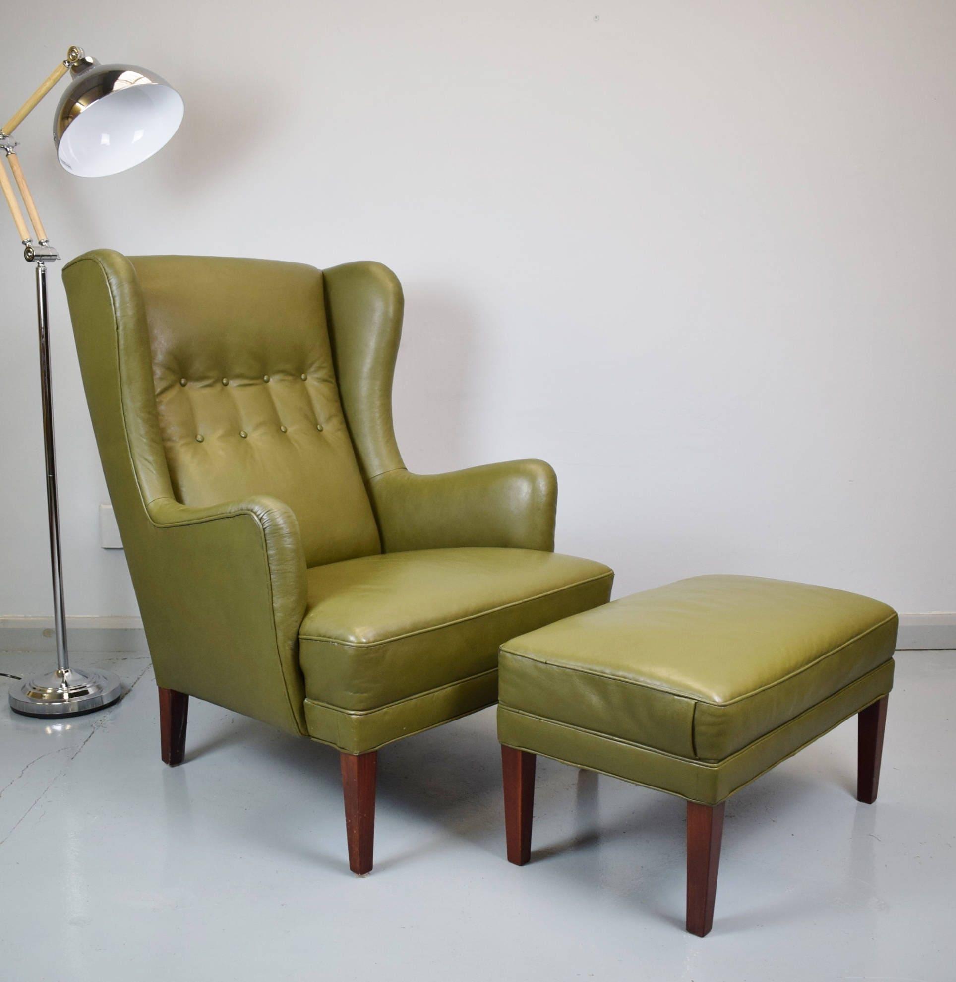 Mid Century Retro Danish Green Leather Wingback Armchair  Matching Footstool