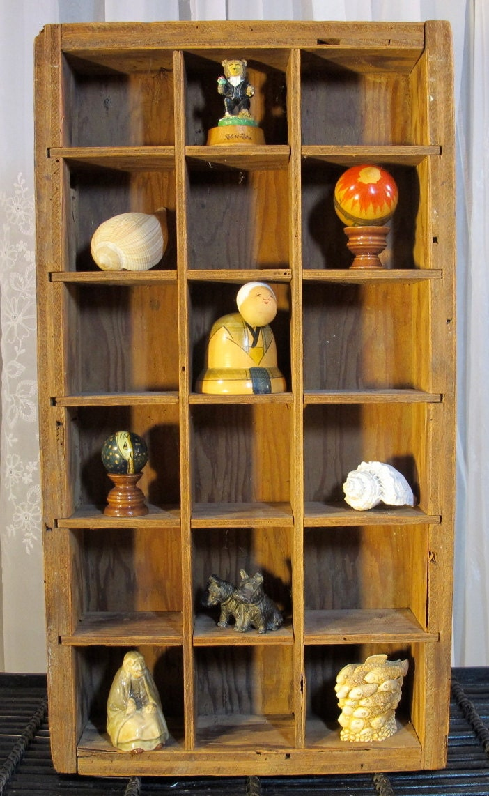 Vintage 80s rustic divided wall shelf cubby by AcquisitionsByBeth