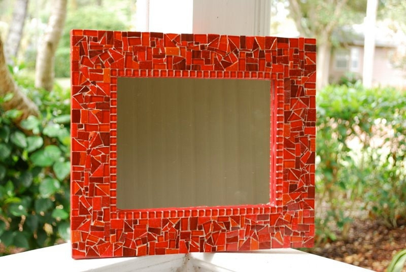 Red Mosaic Wall Decor : Wall mirror red mosaic art by greenstreetmosaics on etsy