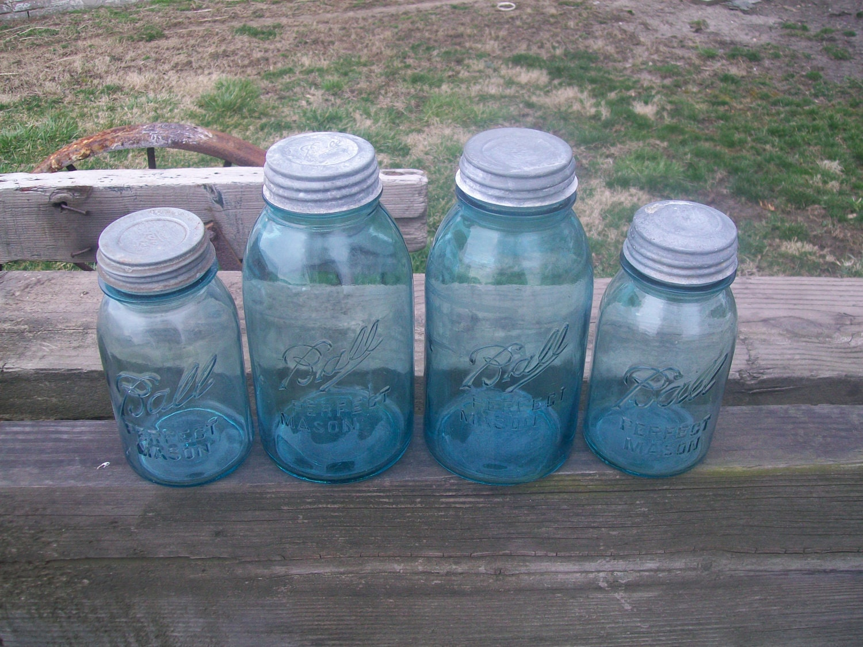 4 Vintage Aqua Blue Ball Perfect Mason Jars 2 Half Gallon Sized 2 Quart Sized with Zinc Lids - CatfishJarRescue