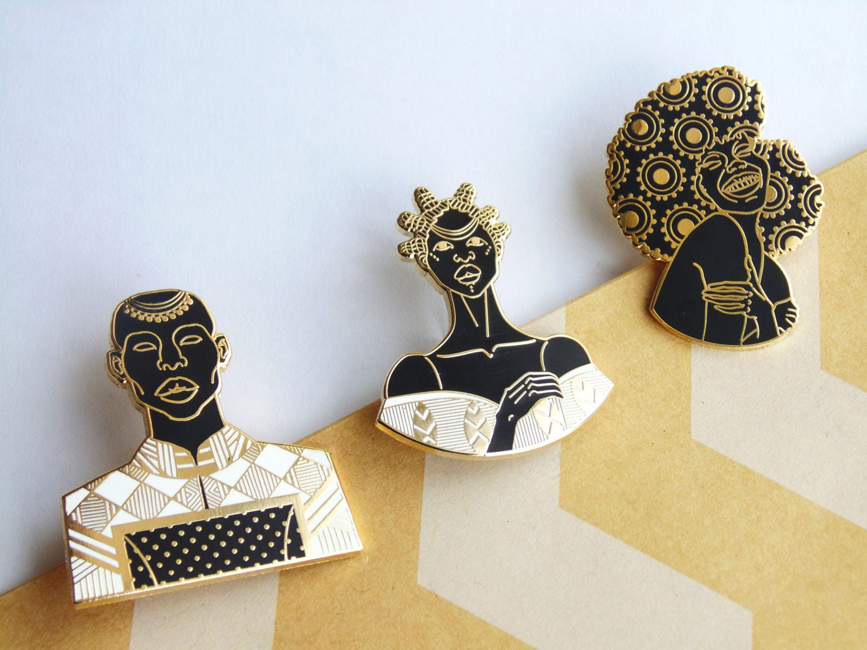 Gold Pin Set  Enamel Pins  Brooch  African Inspired  Black Girl Magic  Headwrap  Black Art  Melanin  Yoruba  Lapel Pins